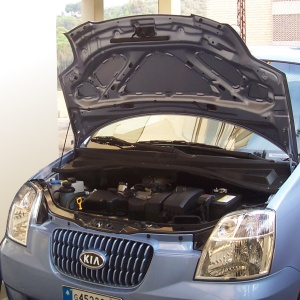 Car with hood open